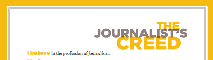 Journalists' Creed gets an updated look - download!