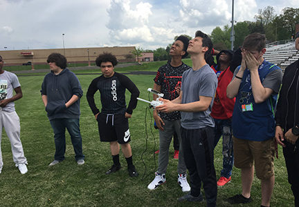 Ritenour High School students learn to fly a drone.