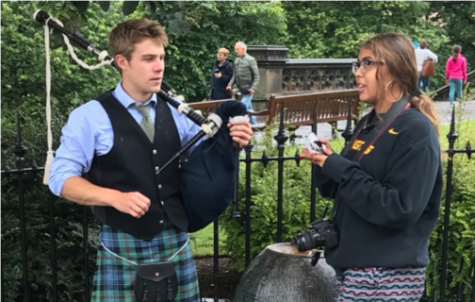 One of my sophomores interviews a performer playing the bag pipes in her first day in Edinburgh, Scotland.